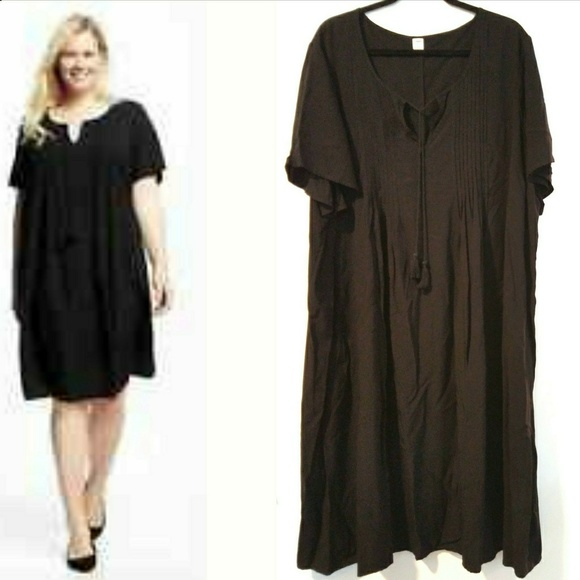 53d005615b7d Old Navy Dresses | 4x Plus Size Black Pintucked Swing Dress | Poshmark